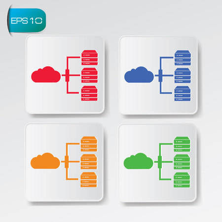 Database and cloud computing icon on buttons Vector