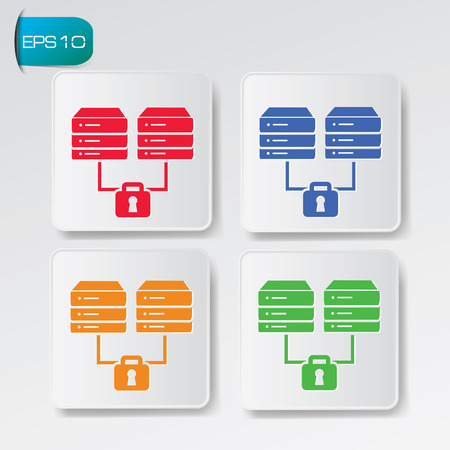Database connection icon on buttons,clean vector