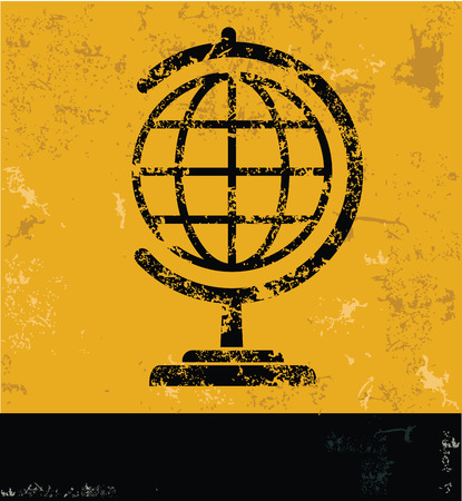 picto: Global design on yellow background,yellow vector Illustration