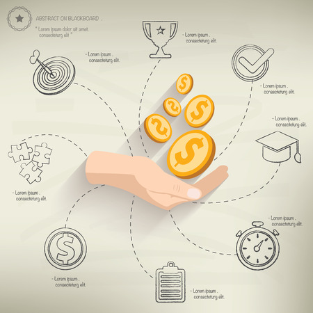 Make money,info graphic design on old paper background,clean vector Vector