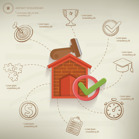 mortgage: Mortgage concept info graphic design on old paper background