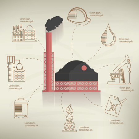 heavy industry: Heavy industry design info graphic on old paper background