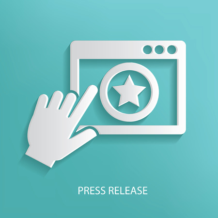 press release: Press release symbol on blue background