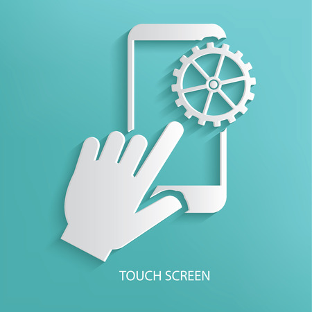ring finger: Touch screen on blue background