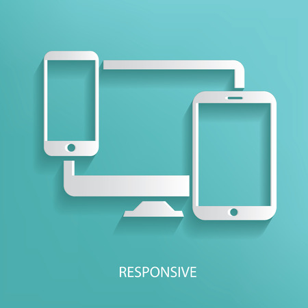 computer devices: Responsive symbol on blue background Illustration