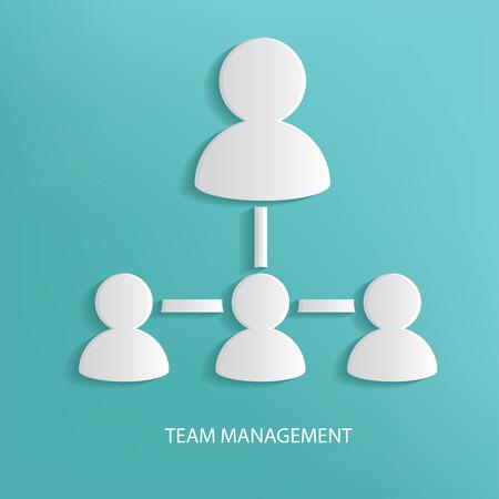 general manager: Team management symbol on blue background