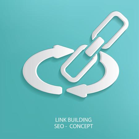 link building: Link building symbol on blue background