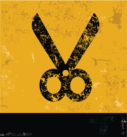taylor: Scissor design on yellow background,yellow vector