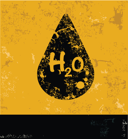 h20: H2O design on yellow background,yellow vector Illustration