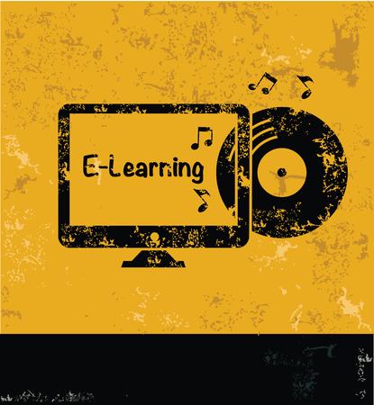 yellow vector: E-learning design on yellow background,yellow vector
