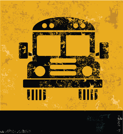 art school: School bus design on yellow background,yellow vector