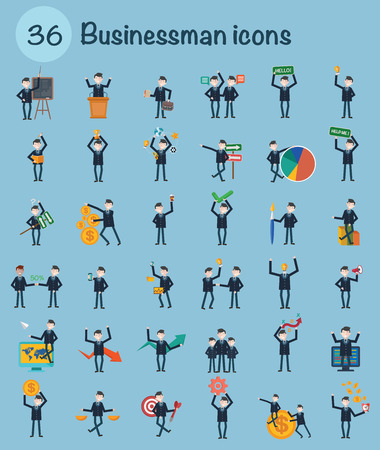 character design: 36 Businessman character design,clean vector Illustration
