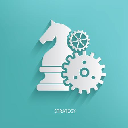 青色の背景は、きれいなベクターの戦略、チェスのシンボルします。