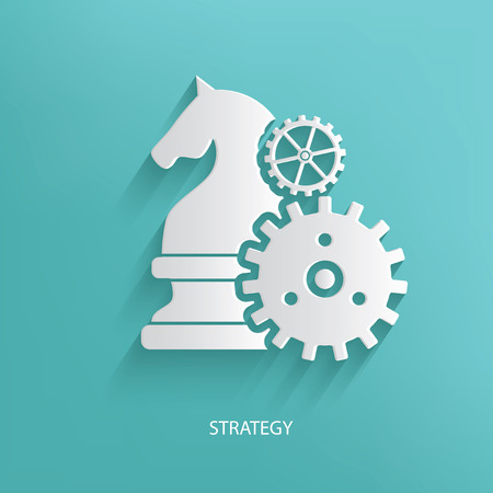 strategic advantage: Strategy,Chess symbol on blue background,clean vector