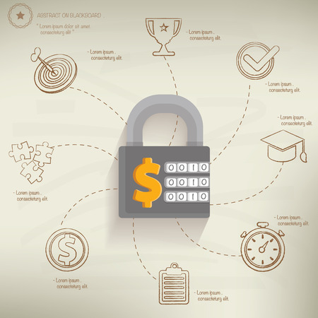 dollar sign icon: Safety money,info graphic design on old paper background,clean vector