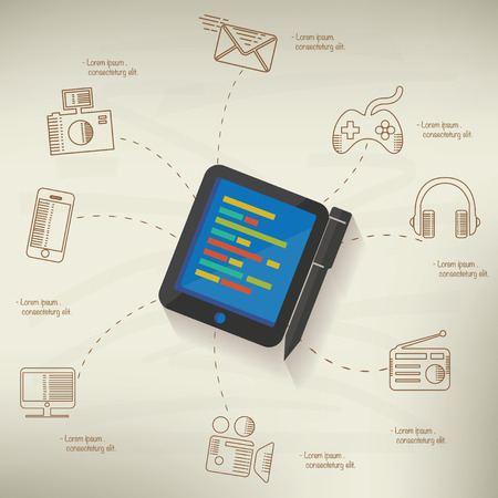 old pc: Tablet PC design,info graphic on old paper background,clean vector