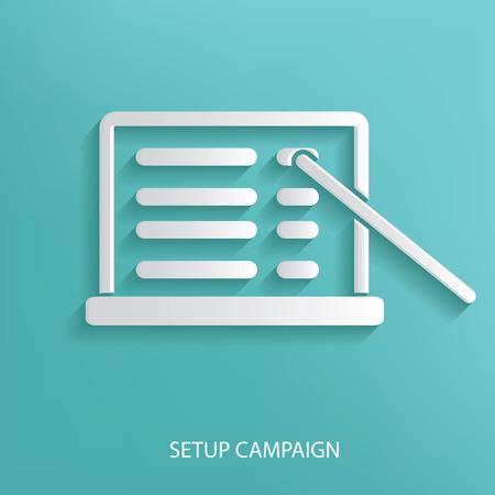 Setup campaign marketing symbol on blue background Illustration