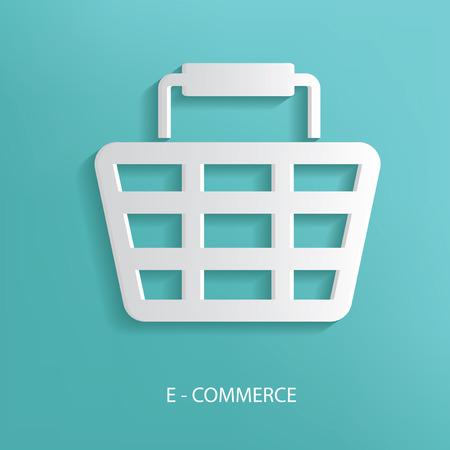 ivories: E-Commerce symbol on blue background