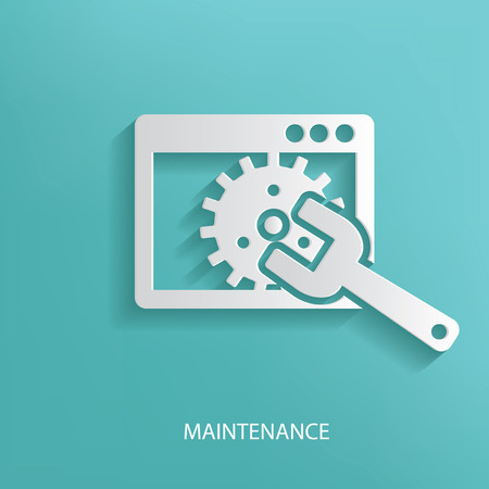 Maintenance symbol on blue background Vector