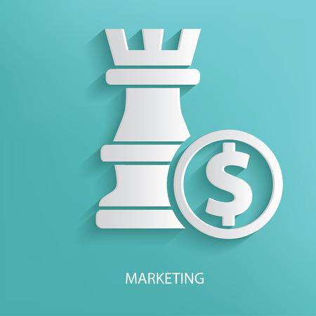 Marketing symbol on blue background Illustration