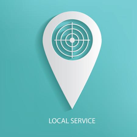 Local service symbol on blue background