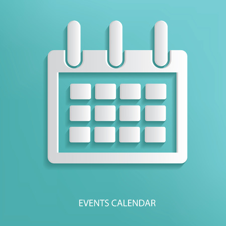 Events calendar symbol on blue background,clean vector