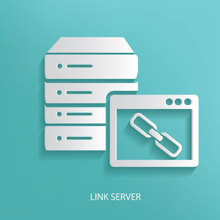 Link server symbol on blue background,clean vector Illustration