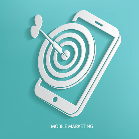 Mobile marketing symbol on blue background,clean vector Vector
