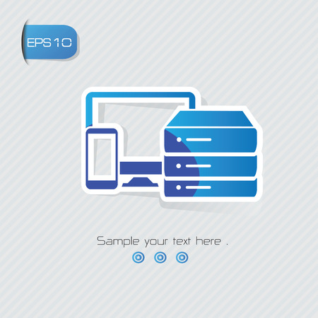 Database symbol,sticker design,blue version,clean vector Vector