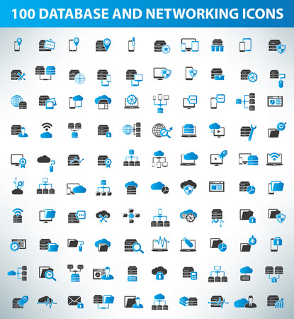 data center data centre: 100 Database server and networking icon set,quality icons,blue version,clean vector