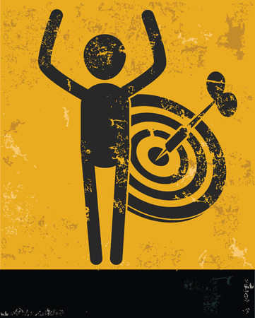 penetrating: Target concept,human resource design on yellow background,grunge vector