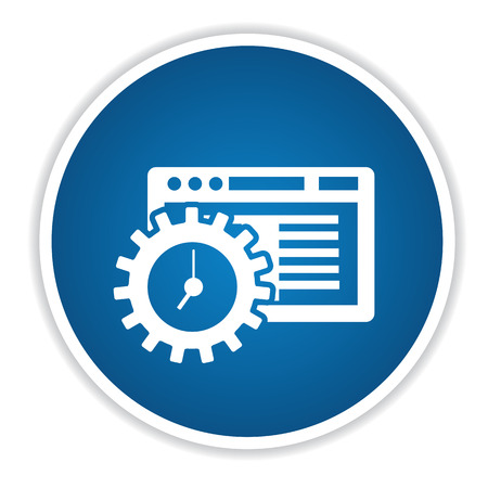 api: Software icon on blue button,clean vector Illustration