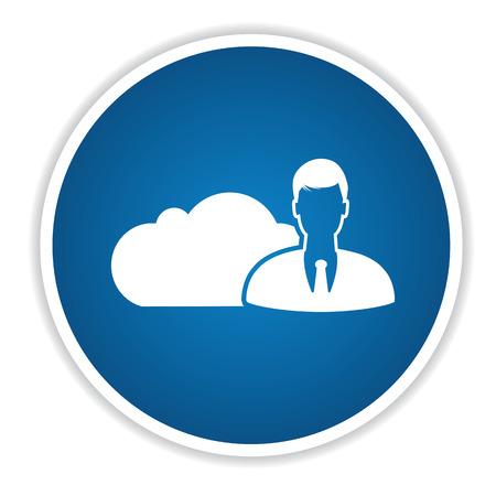 public folder: Admin cloud computing icon on blue button,clean vector