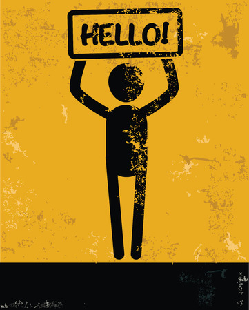 hesitating: Hello concept,human resource on yellow background,grunge vector