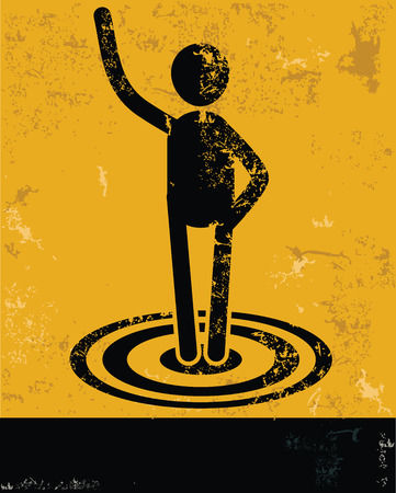 hesitating: Target concept,human resource on yellow background,grunge vector