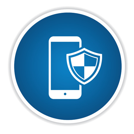 Mobile security on blue button,clean vector Vector