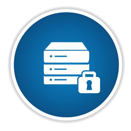 cylinder lock: Lock database on blue button,clean vector Illustration