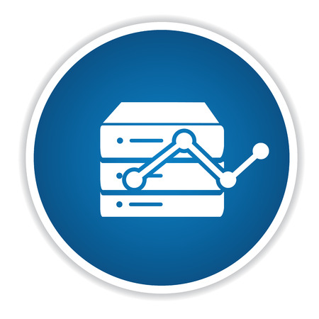 sql: Database icon on blue button,clean vector Illustration