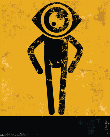 Eye concept,human resource design on yellow background,grunge vector Vector