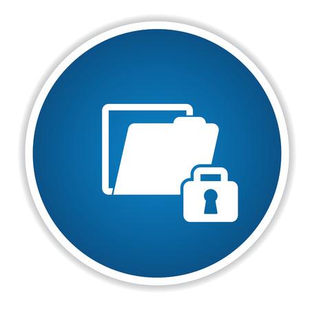 folder lock: Lock folder icon on blue button,clean vector