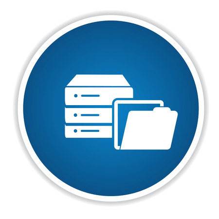 Database icon on blue button,clean vector Illustration