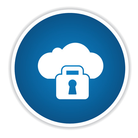 public folder: Lock Cloud computing icon on blue button,clean vector