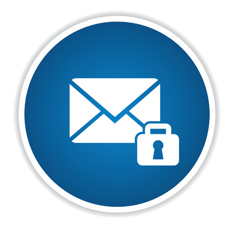 Lock email icon on blue button,clean vector Illustration