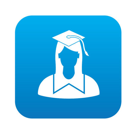 qualified: Student symbol design on blue button,clean vector Illustration