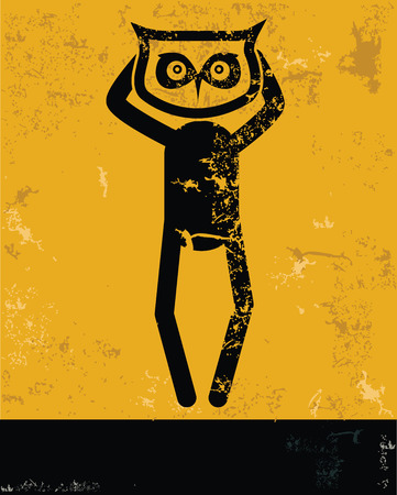 hesitating: Owl concept,human resource on yellow background,grunge vector