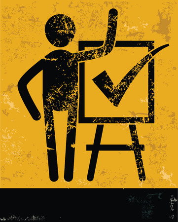 Checking mark concept,human resource on yellow background,grunge vector Vector