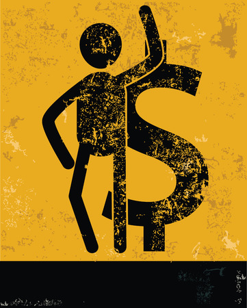 Finance concept,human resource on yellow background,grunge vector Vector