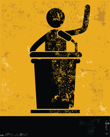 Announcer concept,human resource on yellow background,grunge vector