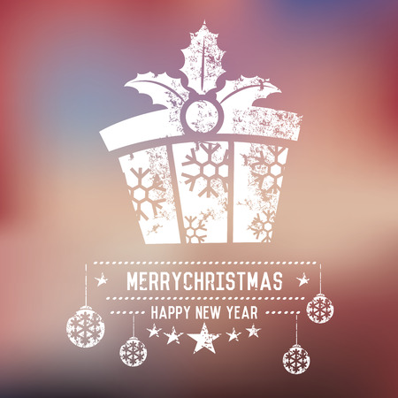 xmas background: Gift,Xmas on blur background,clean vector Illustration