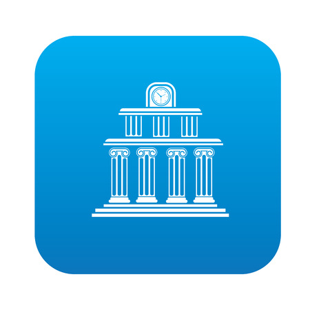 multilevel: School design on blue flat button,clean vector